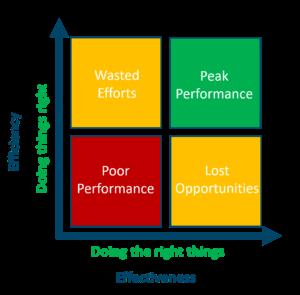 Effectiveness versus efficiency matrix grpah